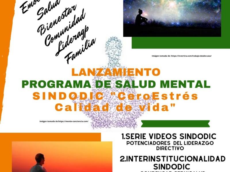 """Programa de salud mental SINDODIC """"Cero estrés calidad de vida"""" 2020"""